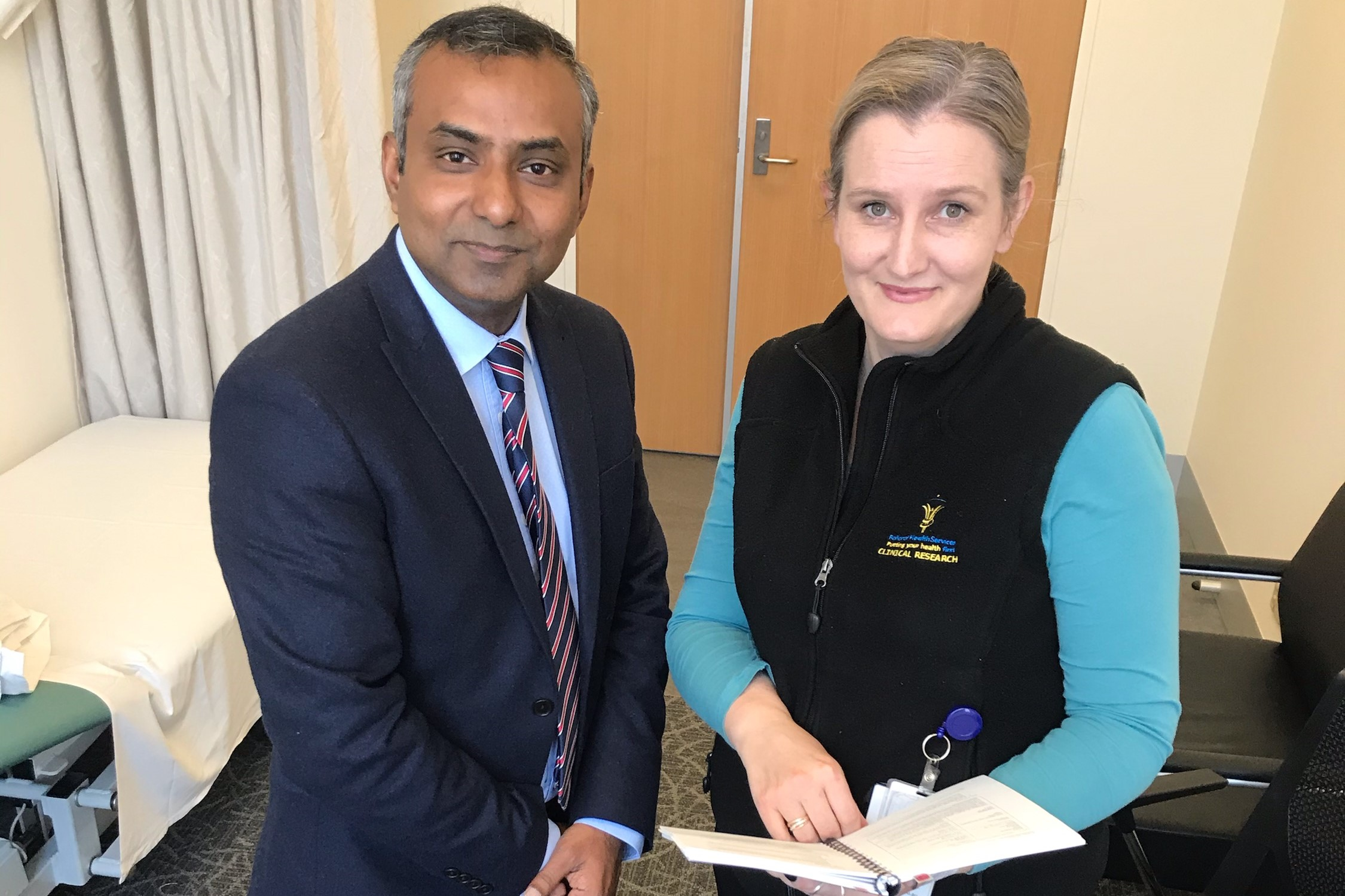 BRICC Medical Oncologist and Principal Investigator Wasek Faisal and Trial Coordinator Rebecca Gurnett from BHS Clinical Trials Unit